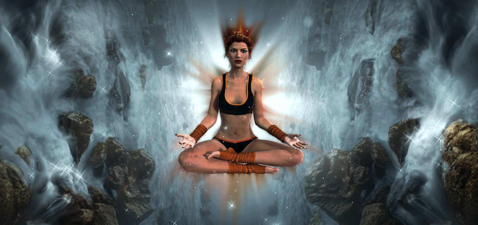 Fantasiedarstellung einer schwebenden Frau in Meditationshaltung zwischen Felsen